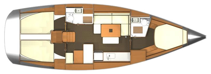 Dufour 405 GL Layout